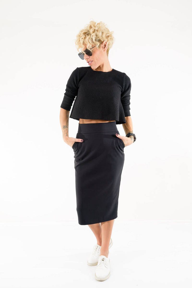 Black High Waist Midi Length Skirt - Clothes By Locker Room