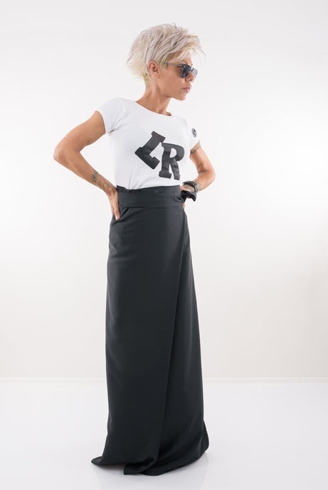 Black Wrap Maxi Full Length Skirt - Clothes By Locker Room
