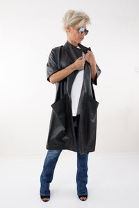 Leatherette Black Women Trench Coat