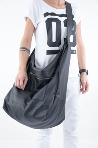 Black Leatherette Cross Body Travel Beach Tote Bags