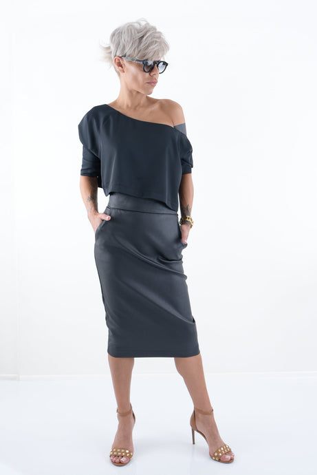 Black Leatherette High Waist Pencil Skirt with Pockets - Clothes By Locker Room