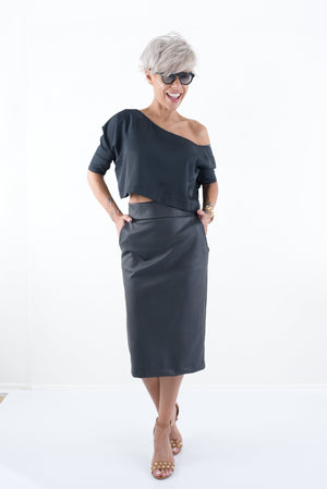 Pencil High Waist Black Midi Women Office Skirt with Pockets - Clothes By Locker Room