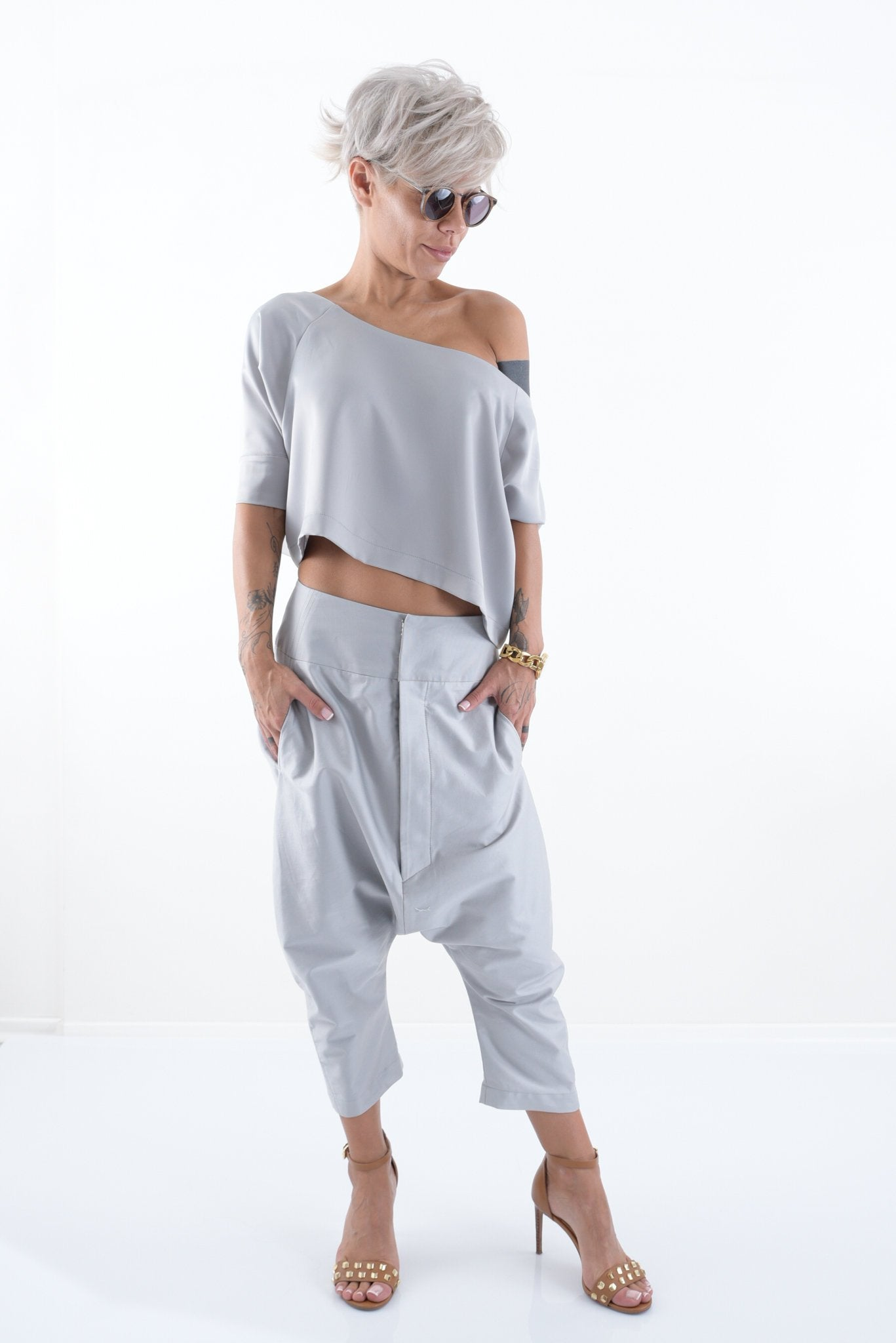 Grey Loose Harem Trendy Pants - Clothes By Locker Room