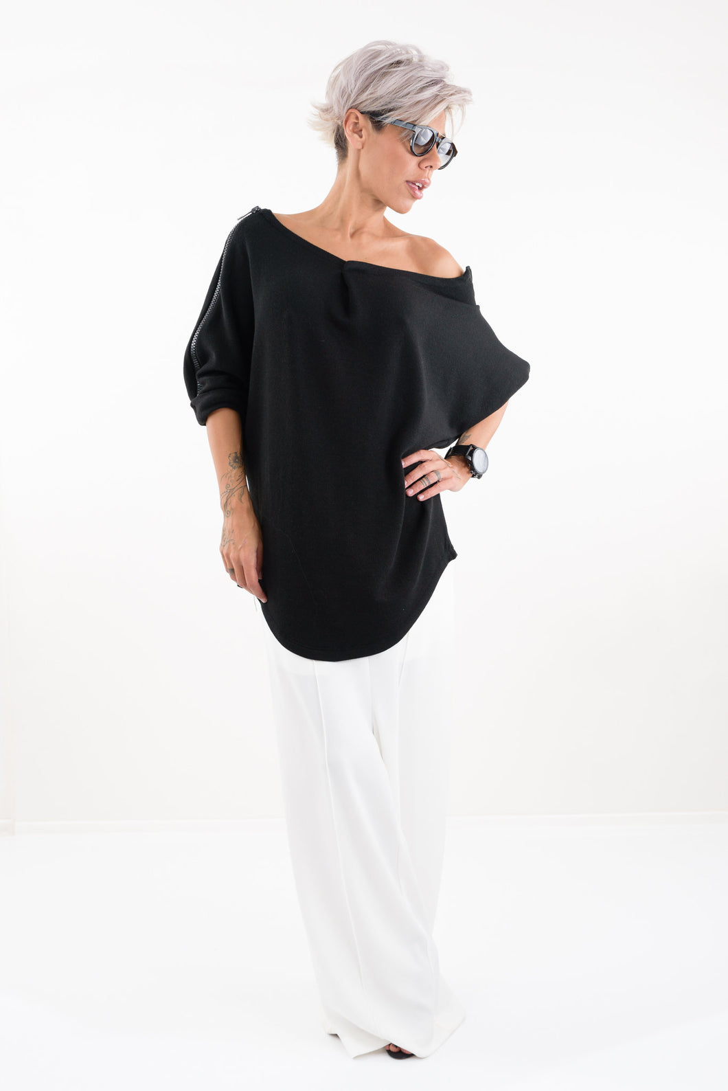 Knit Soft Cotton Blouse with Zipper on the Sleeves - Clothes By Locker Room