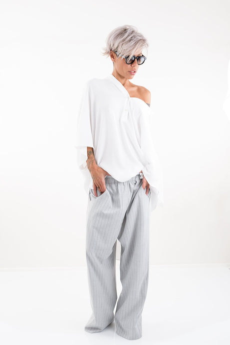 Grey Stripes Harem Wide Leg Drop Crotch Pants - Clothes By Locker Room