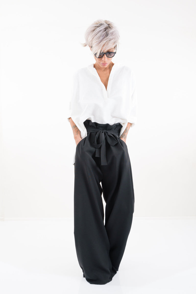 Black Paperbag Wide Leg Pants with Pockets - Clothes By Locker Room