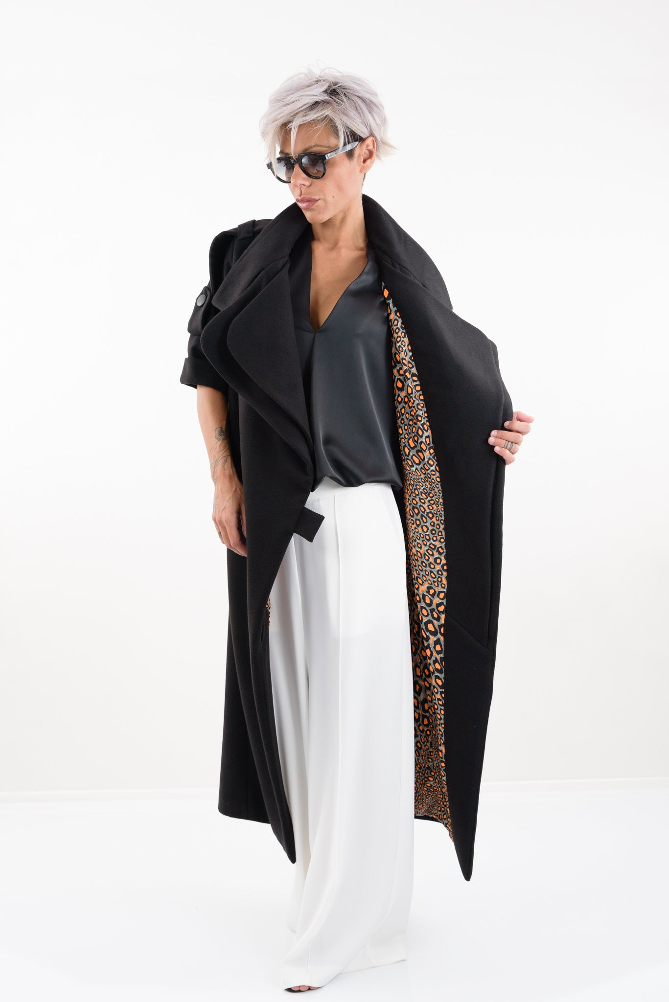 Long Women Winter Wool Maxi  Plus Size Trench Rain Coat - Clothes By Locker Room