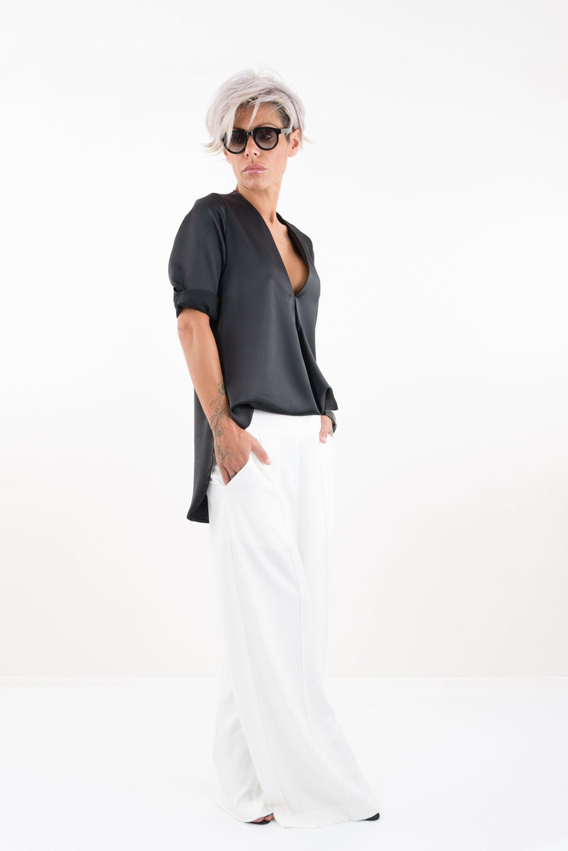 Black Fancy Tunic 7/8 Sleeves and V Neck - Clothes By Locker Room