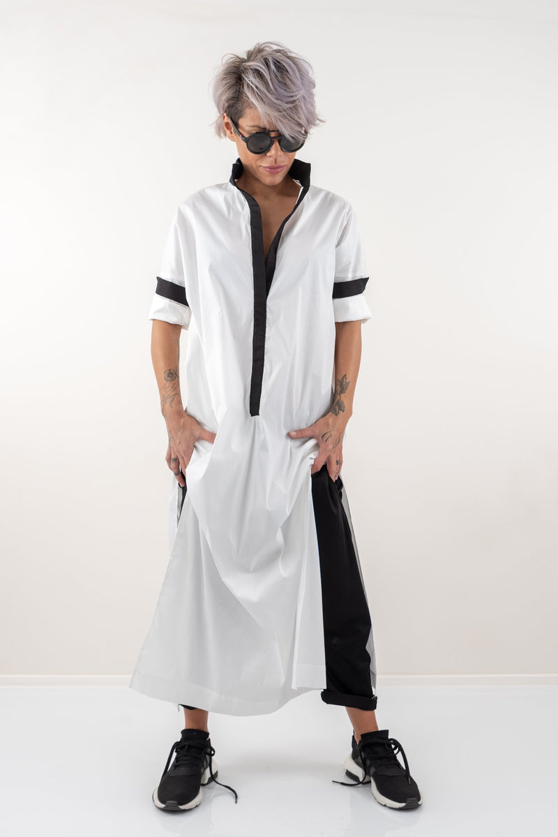 White Long Maxi Asymmetric Oversize Loose Shirt - Clothes By Locker Room
