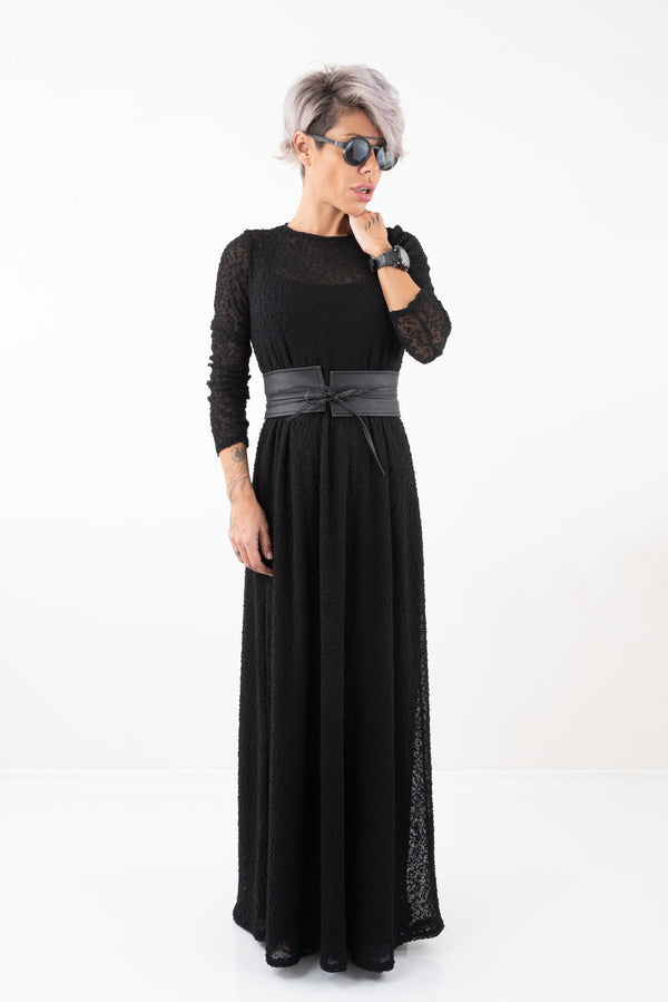 Black Knit Long Dress With Long Sleeves - Clothes By Locker Room