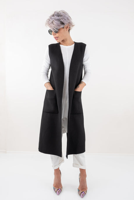 Black Long Sleeveless Vest with Side Pockets - Clothes By Locker Room