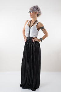 Maxi Black Pleated High Waist Skirt with Elastic Waistband - Clothes By Locker Room