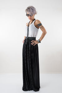 Maxi Black Pleated Loose Wide High Waisted Plus Size Skirt
