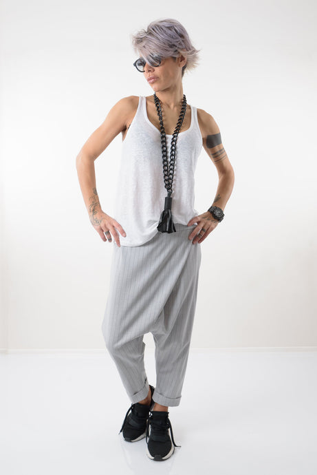 Loose Grey Casual Drop Crotch Harem Pants - Clothes By Locker Room