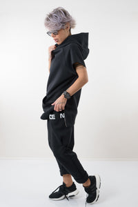 Black Two Piece Set - Hoodie with short Sleeves and Loose Pants - Clothes By Locker Room