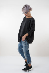 Black Extravagant Oversize Asymmetric Viscose Knitted Open Back Blouse