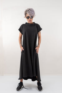 Black Maxi Kaftan Dress With Side Pockets