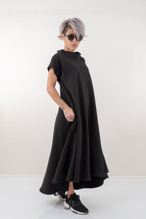 Black Maxi Kaftan Dress With Side Pockets - Clothes By Locker Room