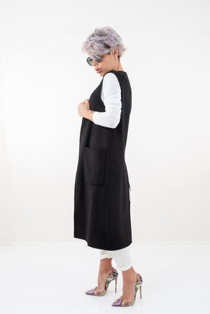 Black Long Sleeveless Vest with Side Pockets