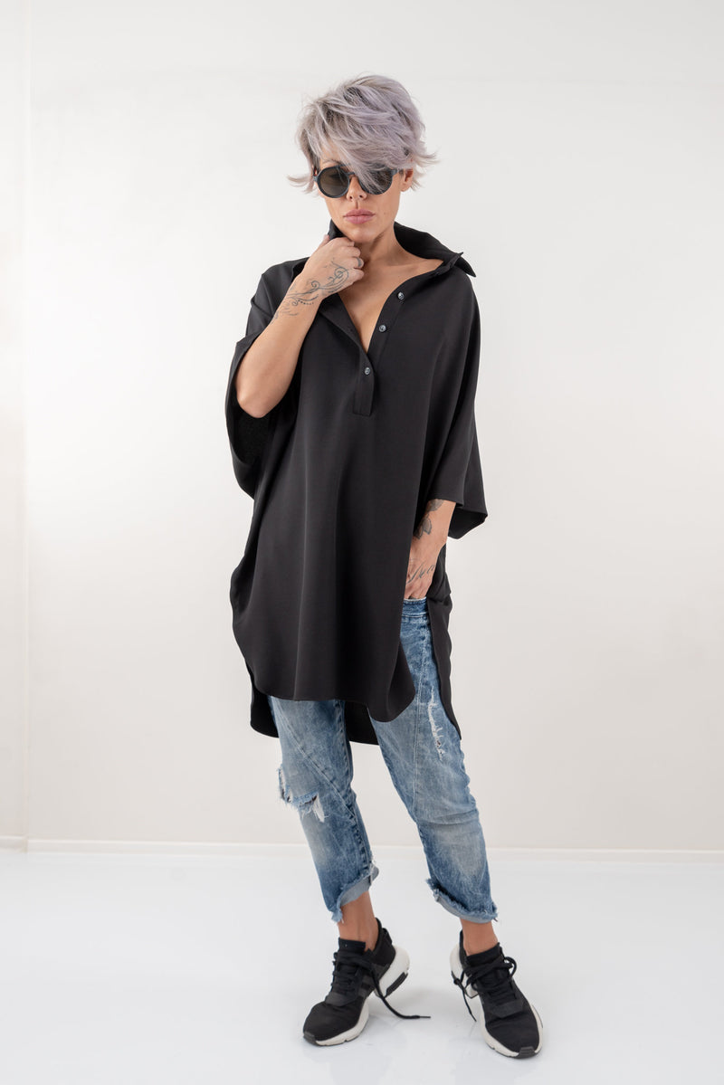 Black Loose Asymmetric Oversize Extravagant Shirt - Clothes By Locker Room