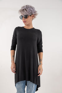 Black Loose Long Tunic Top With Long Sleeves - Clothes By Locker Room