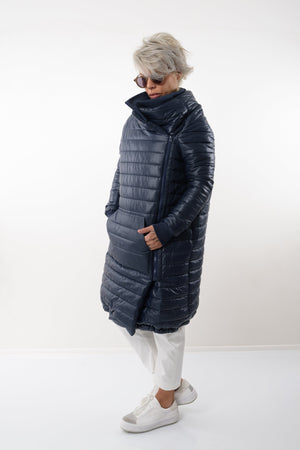 Winter Extra Warm Navy Blue Quilted Puffer Coat With Front Pocket
