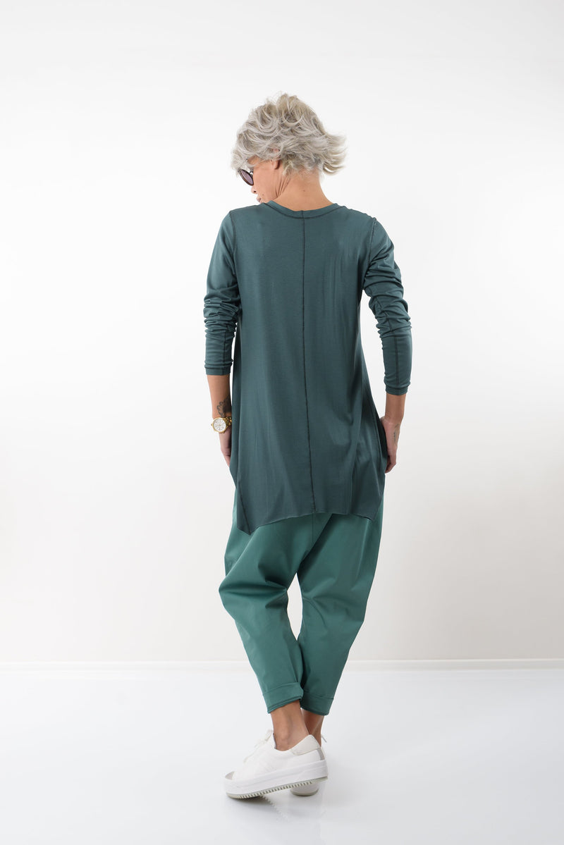 Green Tunic Top with Long Sleeves - Clothes By Locker Room