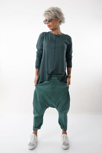 Green Long Plus Size Tunic with Long Sleeves