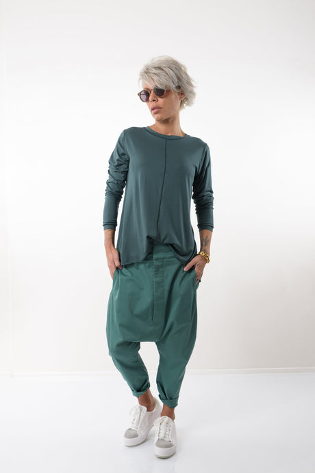 Green Loose Harem Wide Leg Pants - Clothes By Locker Room