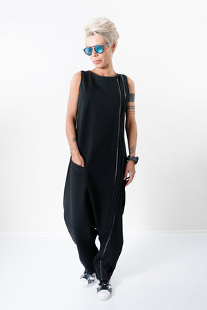 Black Plus Size Women Maxi Harem Jumpsuit - Clothes By Locker Room