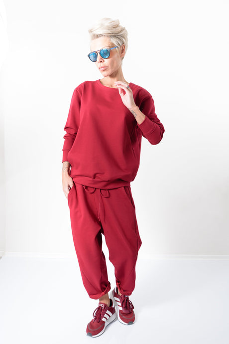 Women Red Casual Two Piece Tracksuit - Clothes By Locker Room