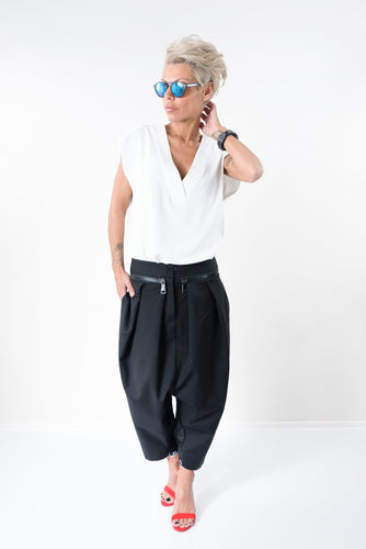Extravagant Black Low Crotch Black Casual Unisex Side Pockets Pants