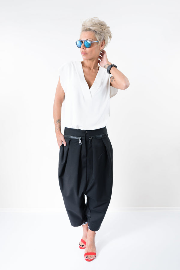 Black Low Crotch Casual Side Pockets Pants - Clothes By Locker Room