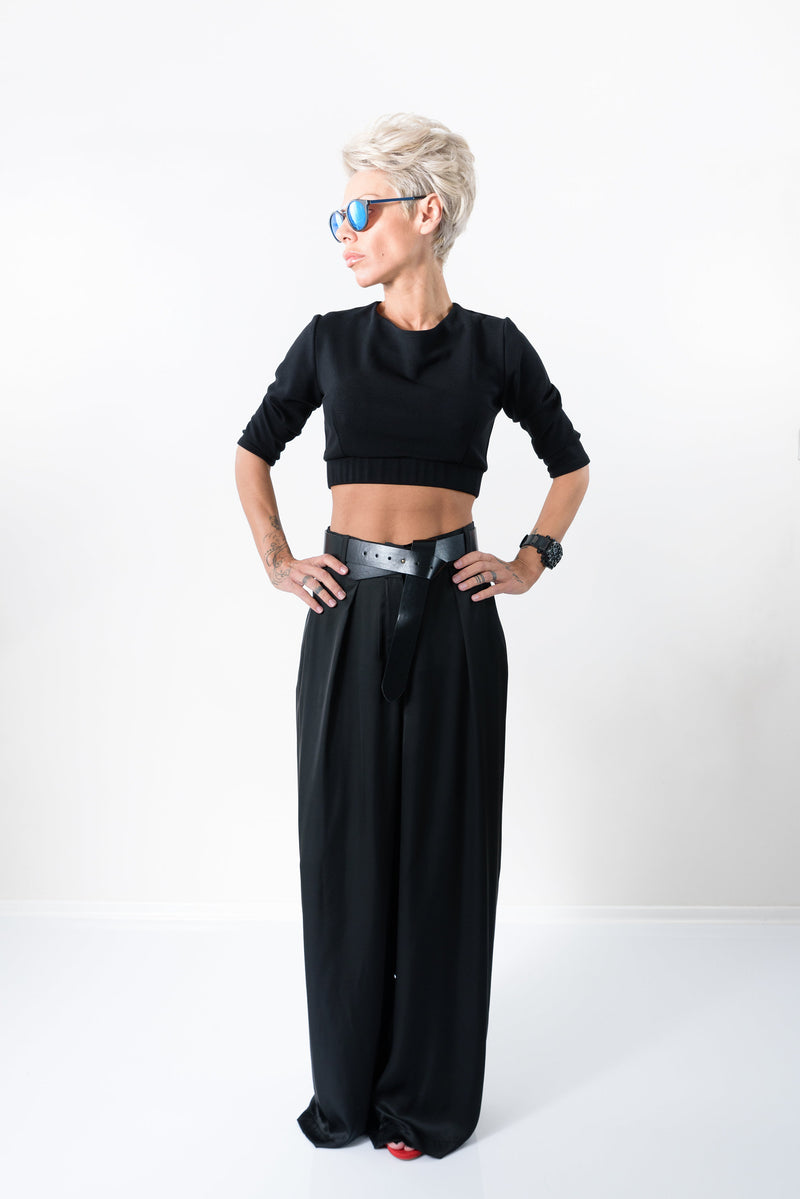 Women Black Palazzo Wide Leg Pants - Clothes By Locker Room
