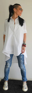 White Asymmetric Loose Shirt