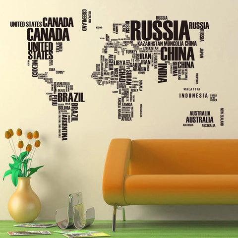 Wall Stickers Letter World Map