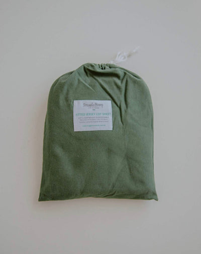 Fitted Cot Sheet - Olive