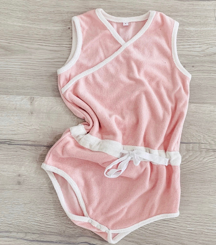 Retro Terry Playsuit - Cross Neck - Candy Pink