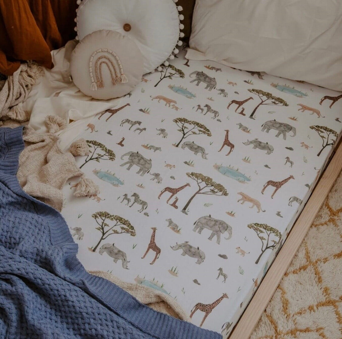 Fitted Cot Sheet - Safari