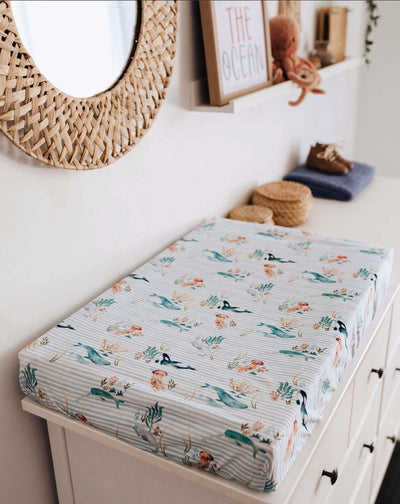 Bassinet Sheet / Change Pad Cover - Whale