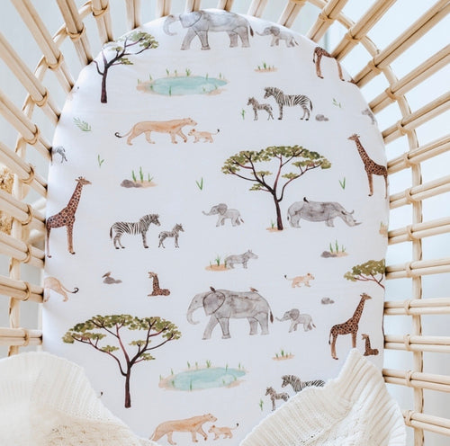 Bassinet Sheet / Change Pad Cover - Safari