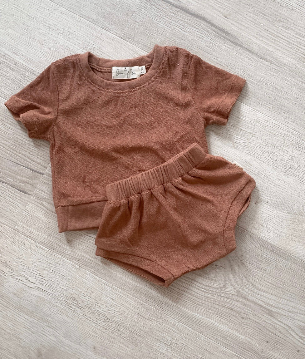 Mocha Terry Tee & Shorty Set