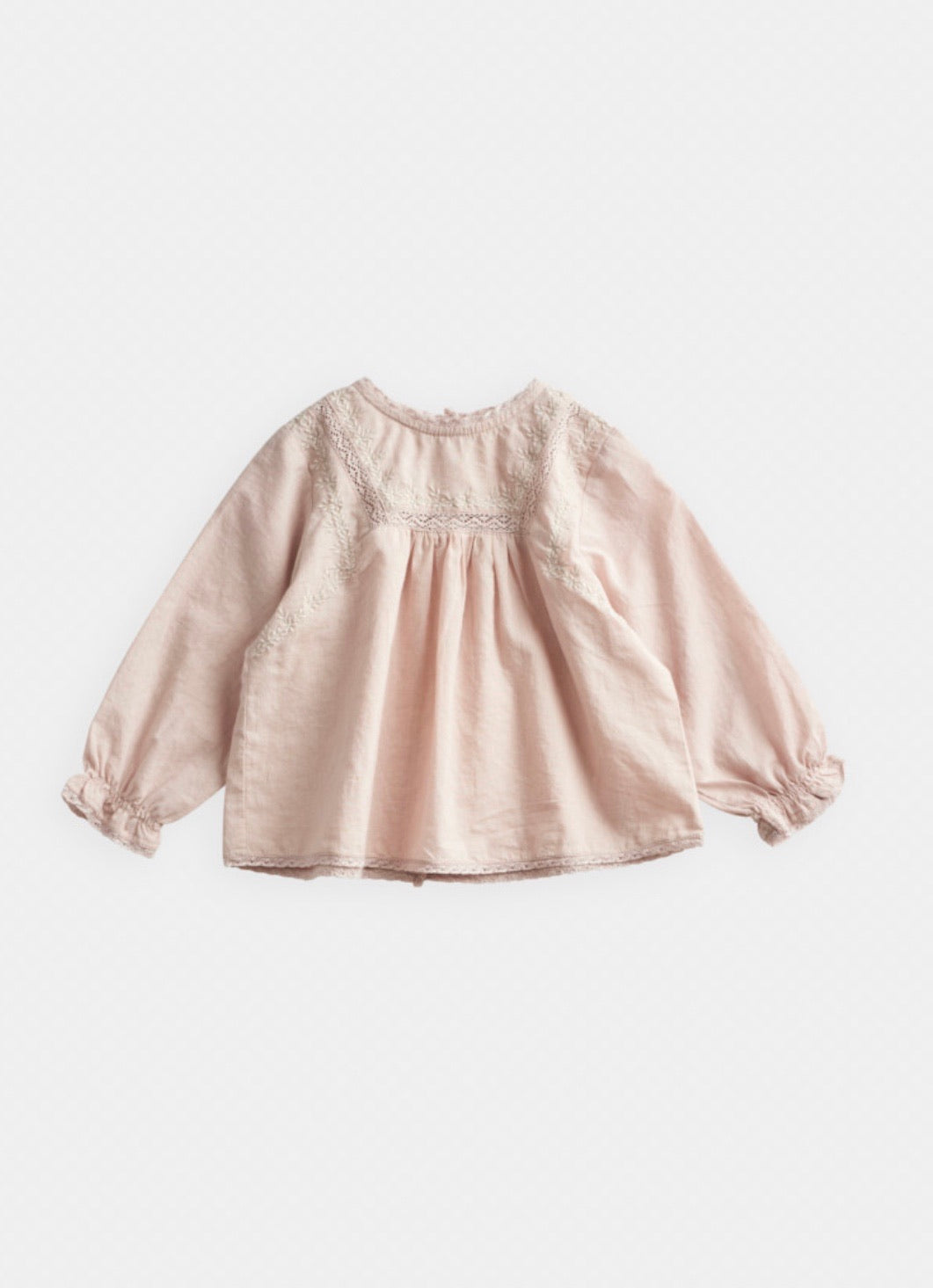 Lace and Embroidery Blouse | Beige