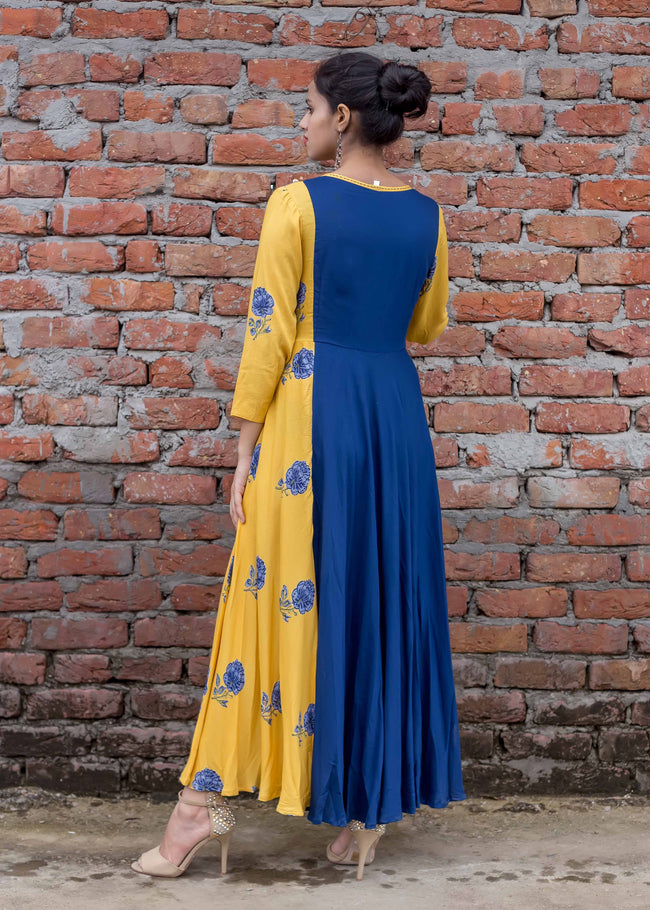 Rayon Floral Anarkali indo western gown in blue and yellow