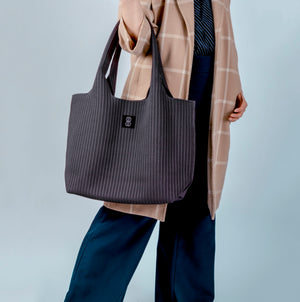 Sutton City Tote - Charcoal Stripe - large