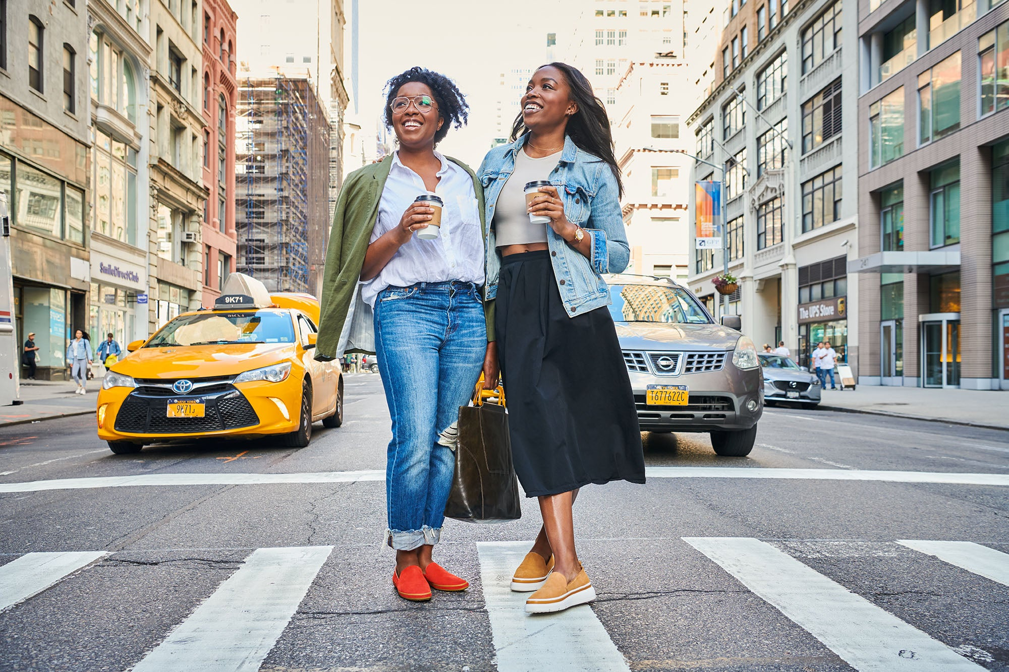 Tiffany and Amber Davis wearing the Sutton Slip On and Sutton Sneaker in New York City