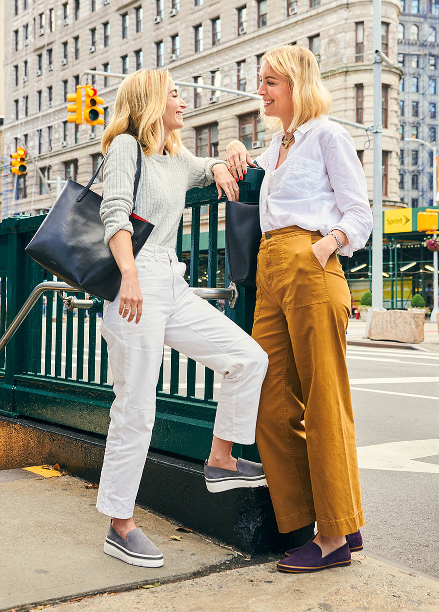 Alex Schinasi and Lee Rotenberg wearing our Cement Sutton Sneaker and Purple Heart Sutton Slip On in New York City