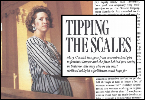 "Mary Cornish Magazine Article Headline ""Tipping the Scales"""