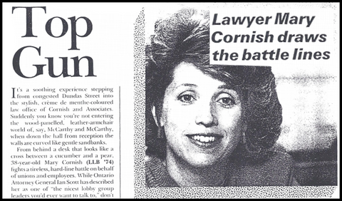 "Lawyer Mary Cornish Newspaper Article with Headline ""Top Gun"""