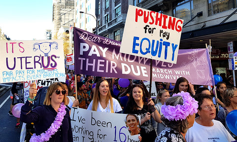 New Zealand Midwives Protesting